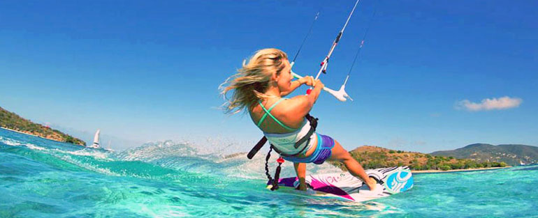 Windsurfing and kitesurfing in North Cyprus, active sports in Mediterranean Sea